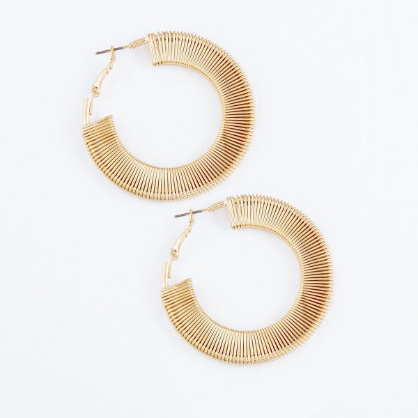 """Wire Wrapped Hoop Earrings in Gold.  - Hoop Diameter 2"""""""