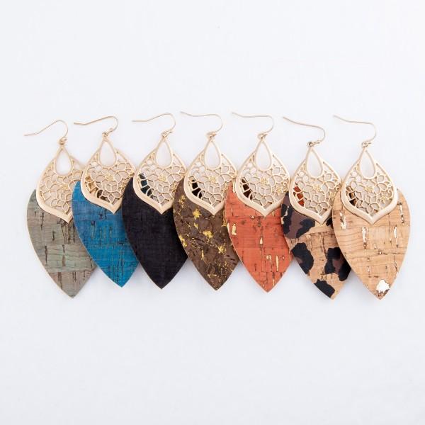 """Leopard Print Filigree Cork Drop Earrings in Gold.  - Approximately 3"""" L"""