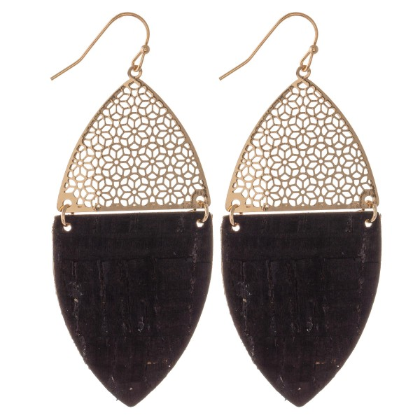"Filigree Cork Drop Earrings in Gold.  - Approximately 2.5"" Long"