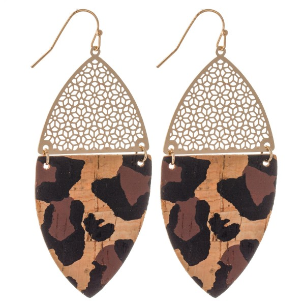 "Leopard Print Filigree Cork Drop Earrings in Gold.  - Approximately 2.5"" Long"