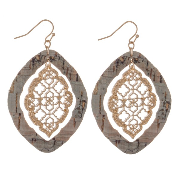 "Nested Filigree Moroccan Cork Drop Earrings in Gold.  - Approximately 2.75"" Long"