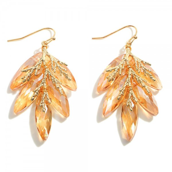 """Crystal Drop Earrings Featuring Gold Leaf Accents.   - Approximately 2"""" in Length"""