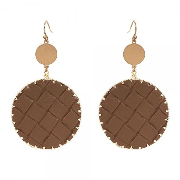 Wholesale faux Leather Basket Weave Drop Earrings Gold Long Diameter