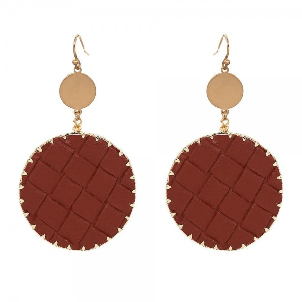 "Faux Leather Basket Weave Drop Earrings in Gold.  - Approximately 3.25"" Long  - 1.5"" in Diameter"