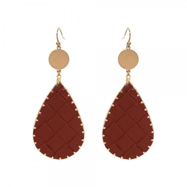 "Faux Leather Basket Weave Teardrop Earrings in Gold.  - Approximately 3.25"" Long"