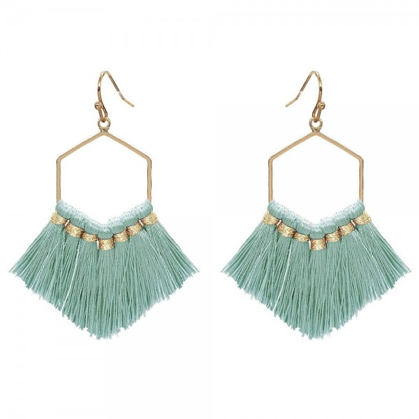 "Fringe Tassel Hexagon Drop Earrings in Gold.  - Approximately 2.5"" Long"