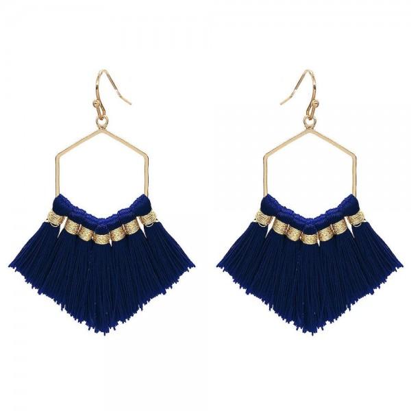 Wholesale fringe Tassel Hexagon Drop Earrings Gold Long