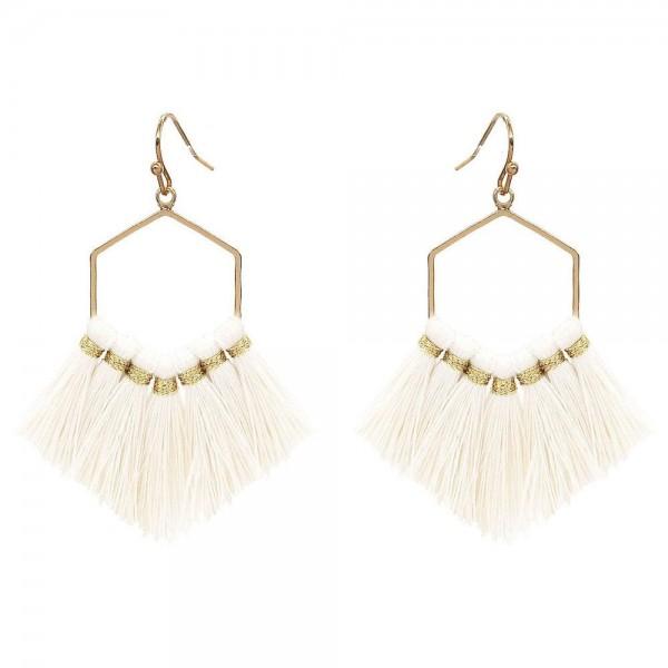 """Fringe Tassel Hexagon Drop Earrings in Gold.  - Approximately 2.5"""" Long"""