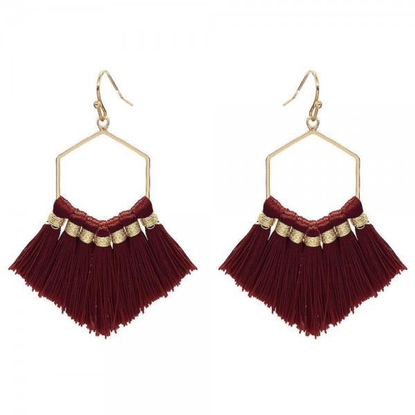 Wholesale fringe Tassel Hexagon Drop Earrings Gold Long