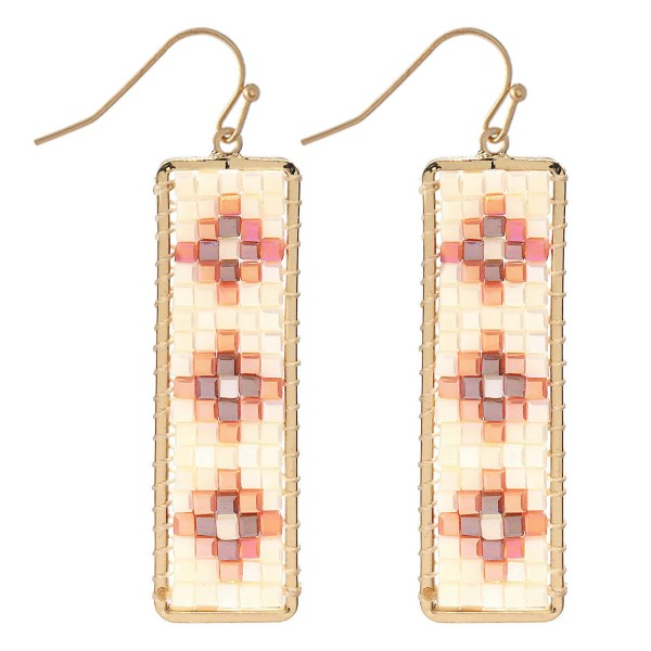 """Seed Beaded Design Bar Earrings in Gold.  - Approximately 2.25"""" L"""