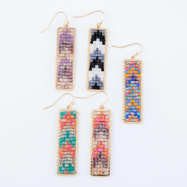 "Seed Beaded Chevron Bar Earrings in Gold.  - Approximately 2.25"" Long"