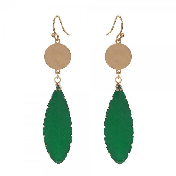 """Glass Crystal Leaf Drop Earrings in Gold.  - Approximately 3"""" Long"""