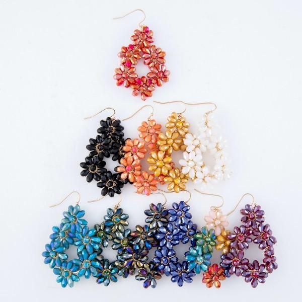 """Wired Crystal Beaded Flower Teardrop Earrings.  - Approximately 2.25"""" Long"""