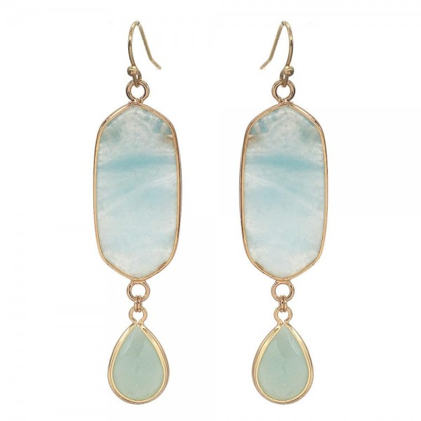 "Semi Precious Natural Stone Drop Earrings in Gold.  - Approximately 3"" Long"