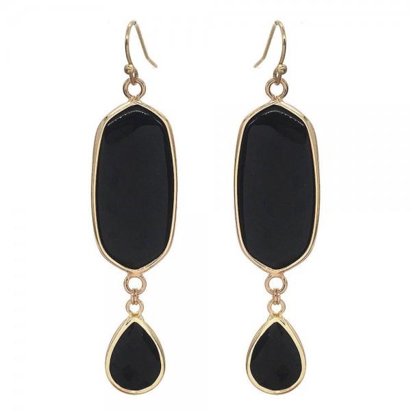 "Semi Precious Natural Stone Drop Earrings in Gold.  - Approximately 3"" Long"