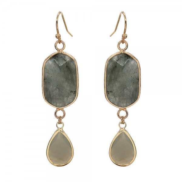 "Semi Precious Natural Stone Teardrop Earrings in Gold.  - Approximately 2"" Long"