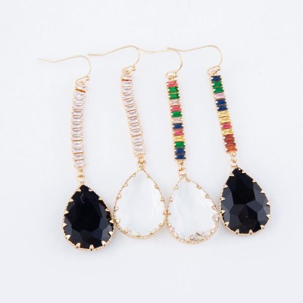 """Crystal Teardrop Earrings in Gold.  - Approximately 3.25"""" Long"""