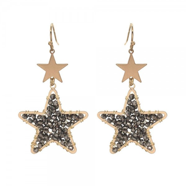 "Wire Beaded Star Drop Earrings in Gold.  - Approximately 2.25"" Long"