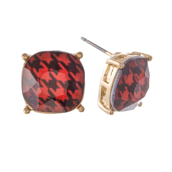 Wholesale houndstooth Crystal Stud Earrings mm