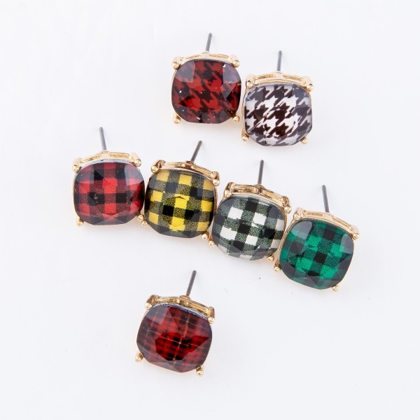 Plaid Crystal Stud Earrings.  - Approximately 11mm in Size