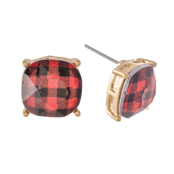 Crystal Buffalo Check Stud Earrings.  - Approximately 11mm in Size