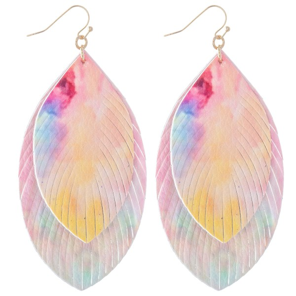 "Double Layered Faux Leather Tie-Dye Feather Tassel Statement Earrings.  - Approximately 3"" L"