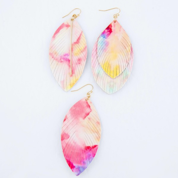 "Faux Leather Tie-Dye Feather Tassel Earrings Featuring Gold Bar Accent.  - Approximately 3"" L"