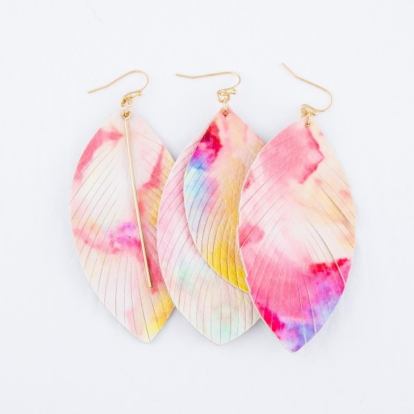 "Faux Leather Tie-Dye Feather Tassel Statement Earrings.  - Approximately 3"" L"