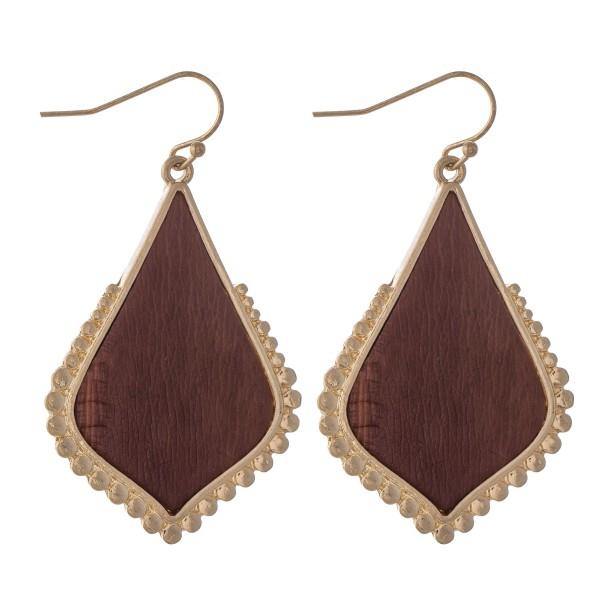 """Metal Encased Faux Leather Moroccan Teardrop Earrings in Gold.  - Approximately 2"""" L"""