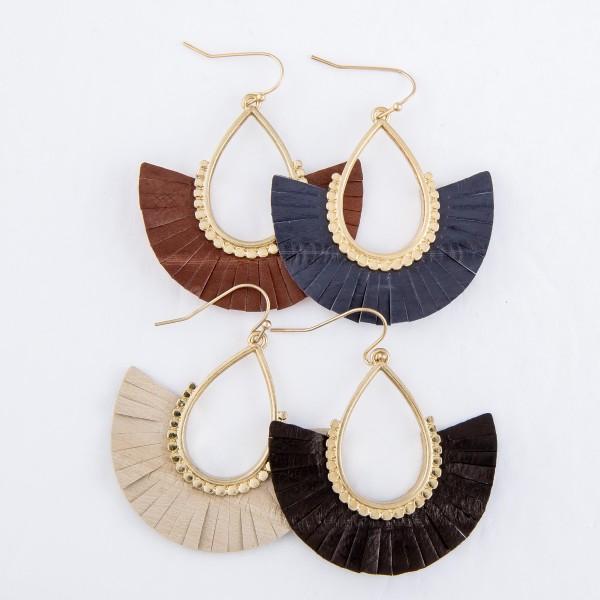 """Faux Leather Tassel Teardrop Earrings in Gold.  - Approximately 2"""" L"""