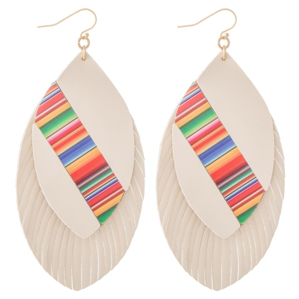"Faux Leather Serape Colorblock Feather Tassel Statement Earrings.  - Approximately 4"" L"