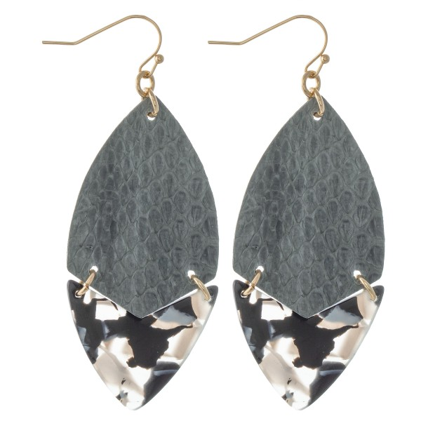 """Faux Leather Animal Print Resin Link Drop Earrings.  - Approximately 2.5"""" L"""