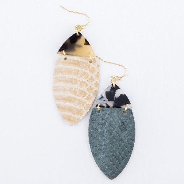 "Resin Link Faux Leather Animal Print Oval Drop Earrings.  - Approximately 2.5"" L"