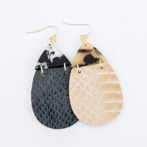 "Resin Link Faux Leather Animal Print Teardrop Earrings.  - Approximately 2.5"" L"