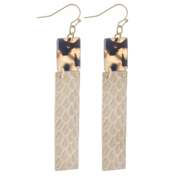 "Resin Link Faux Leather Animal Print Bar Drop Earrings.  - Approximately 3"" L"