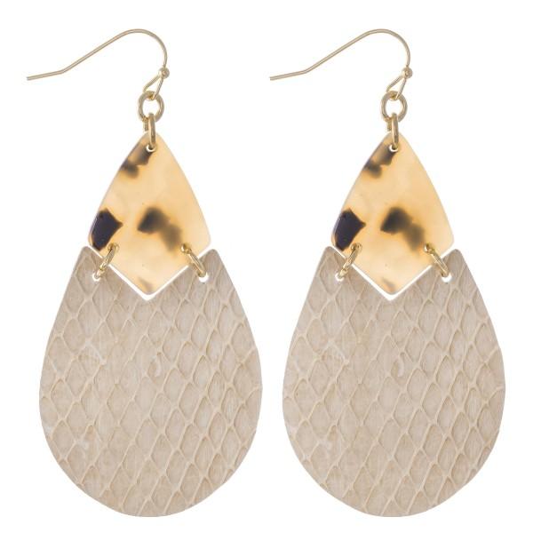 "Resin Faux Leather Animal Print Link Teardrop Earrings.  - Approximately 2.5"" L"