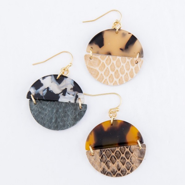 "Half Resin Half Faux Leather Animal Print Circular Drop Earrings.  - Approximately 1.5"" L"
