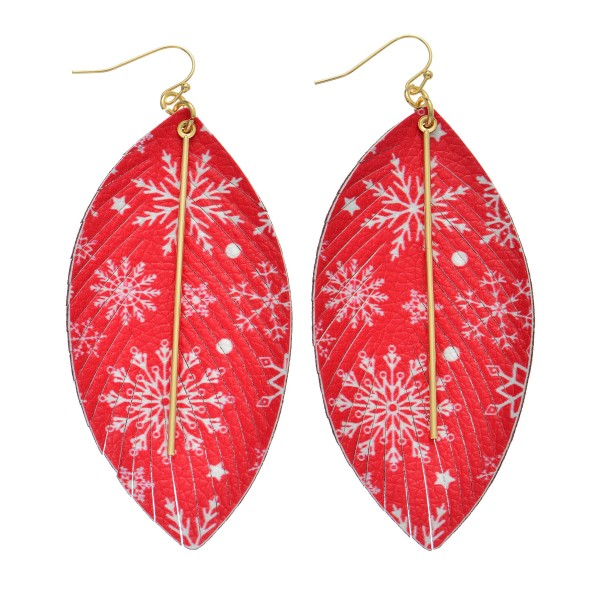 "Faux Leather Christmas Feather Statement Earrings Featuring Gold Bar Accent.  - Snowflake Print - Approximately 3.5"" Long"