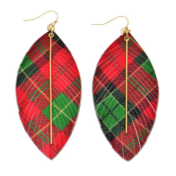 "Faux Leather Christmas Plaid Feather Statement Earrings Featuring Gold Bar Accent.  - Plaid Print - Approximately 3.5"" Long"