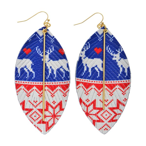 "Faux Leather Christmas Feather Statement Earrings Featuring Gold Bar Accent.  - Reindeer Fair Isle Print - Approximately 3.5"" Long"