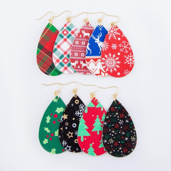 "Faux Leather Christmas Print Teardrop Earrings.  - Reindeer Fair Isle Print - Approximately 3"" Long"