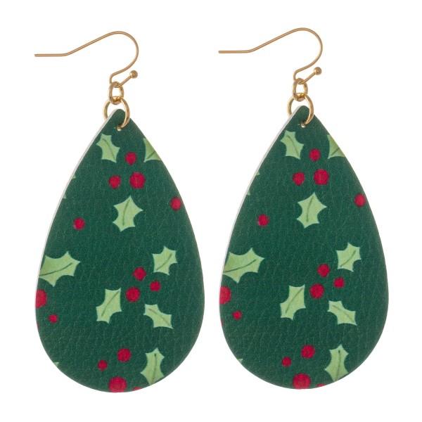 """Faux Leather Christmas Print Teardrop Earrings.  - Mistletoe Print - Approximately 3"""" Long"""