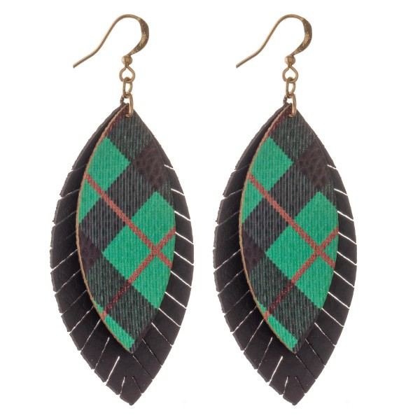 "Faux Leather Christmas Plaid Feather Drop Earrings.  - Approximately 3"" L"