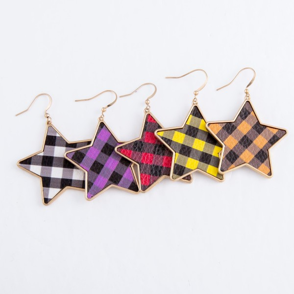 "Metal Encased Faux Leather Buffalo Check Star Drop Earrings.  - Approximately 2"" L"
