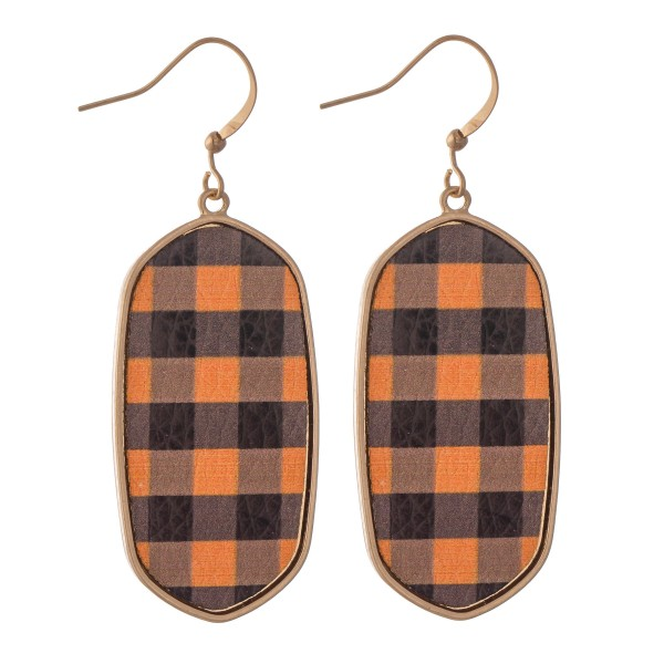 "Metal Encased Faux Leather Buffalo Check Drop Earrings.  - Approximately 2.25"" L"