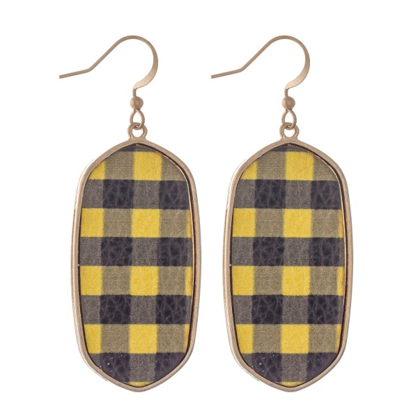 "Metal Encased Faux Leather Buffalo Check Drop Earrings.  - Approximately 2.25"" L"