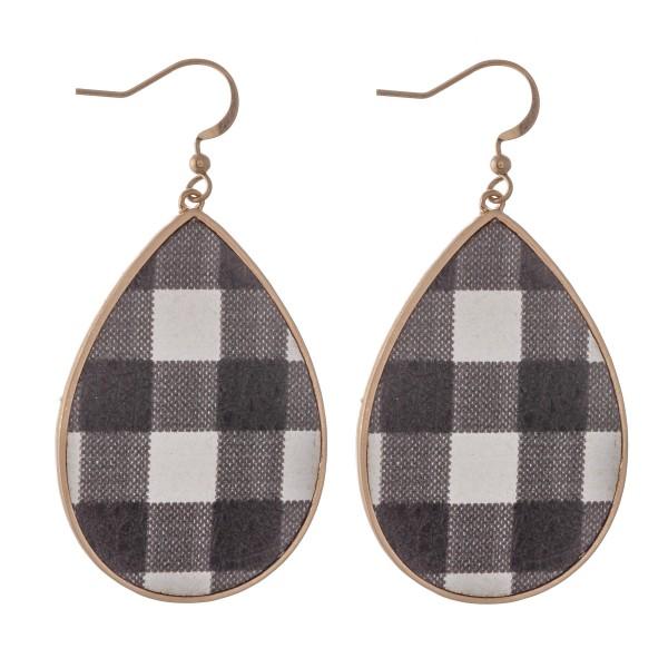 """Metal Encased Faux Leather Buffalo Check Teardrop Earrings.  - Approximately 2.25"""" L"""