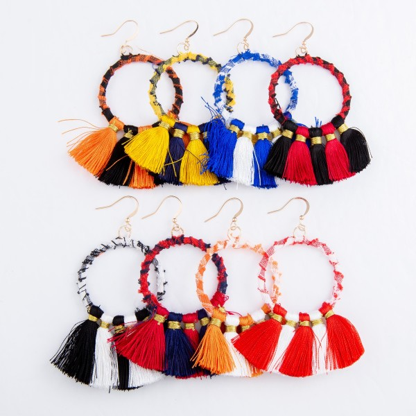 """Plaid Fabric Wrapped Tassel Drop Earrings.  - Approximately 3""""L x 2""""W"""