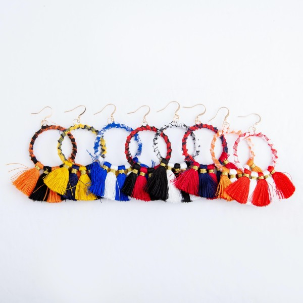 "Plaid Fabric Wrapped Tassel Drop Earrings.  - Approximately 3""L x 2""W"