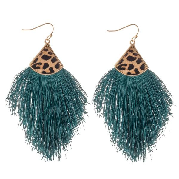 """Genuine Leopard Print Tassel Statement Earrings.  - Approximately 3.75"""" L"""